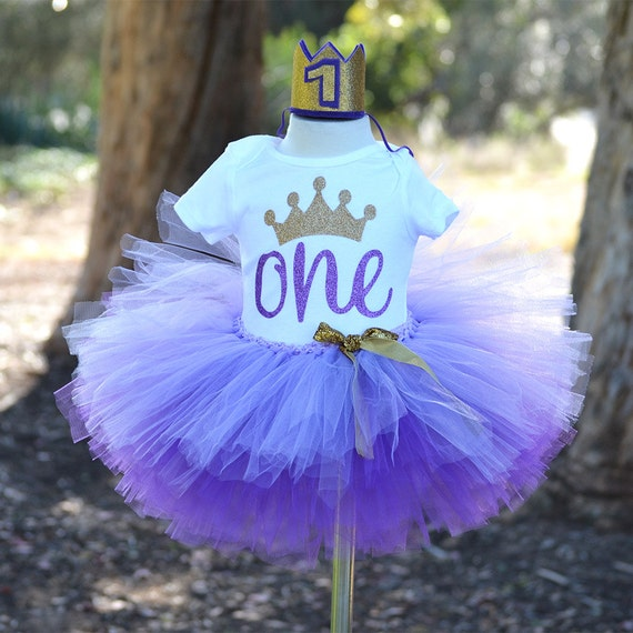 First Birthday Outfit Baby Girl Purple Tutu Princess