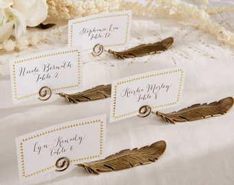 Gilded Gold Feather Place Card Holders (Set of 12)