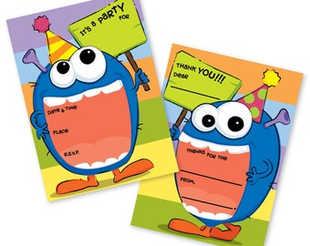 Party Monster Fill In Invitations & Matching Thank You Notes, Celebrate Birthday Bash Invite - FI110