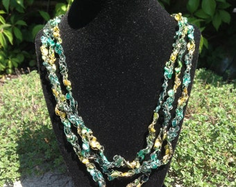 Ladder Yarn Necklace (Yellow/Green)
