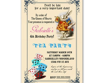 Alice in Wonderland Invitation - Baby Shower / Birthday Tea Party - Printable or Printed