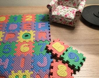 Dollhouse floor play mat miniature plastic foam puzzle like floor mat