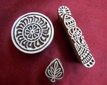 Wood block stamp,Textile stamp, Tjap, Pottery stamp, Wood stamp, Block print stamp, Scrapbook stamp, Batik stamp, Set A
