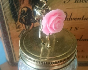 kawaii pastel pink rose ring~kitsch/retro pink rose ring