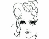 line drawing print, sketch art, portrait drawing, black and white art, portrait sketch, wall art print, wall decor, fashion illustration