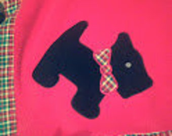 "Scottish Terrier Blanket, Black Scottie, blanket , Appliques, 48"" x 48"", Warm Red Fleece, Plaid Trim"