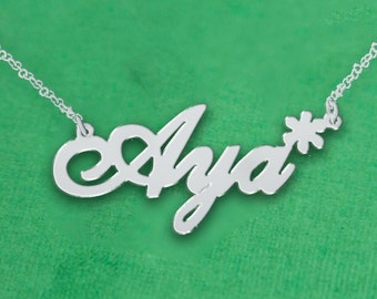 Personalized Name Necklace / Asterisk Charm Name Necklace / Personalized Necklace / Name Plate Necklace / Any Name / Nameplate Necklace