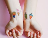 Ice Cream Temporary Tattoo -Colourful, Summer, Set of 2