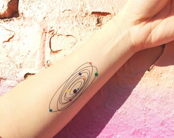 Colourful Solar System Temporary Tattoo - Set of 2