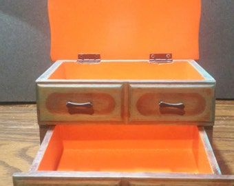 Vintage up-cycled jewelry box with drawers. Aqua and orange.