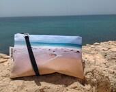 Digital print hand bag  Clutch  Sand and sea foam  FREE SHIPPING