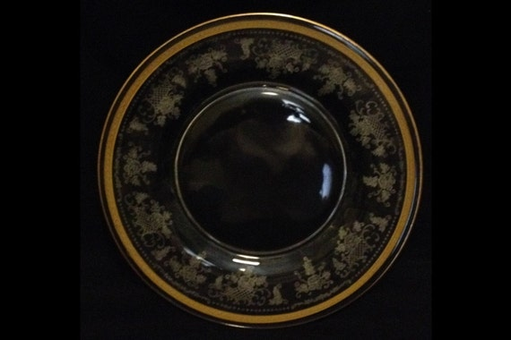 FREE SHIPPING-Elegant-1920's-Fostoria Glass Co.-Delphian-Etched-Duchess-Gold-Trim-Crystal-Luncheon/Salad/Dessert Plate-8 1/2""