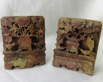 Chinese Soapstone Bookends, Hand-Carved Floral Motif