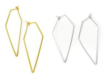 Geometric Brass Earrings  Minimalist Geometric Jewelry, BE129-G, BE129-S