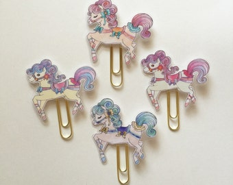 Carousel Horse Pony Double Sided Planner Clip - Made to Order
