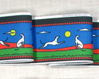 Jane Walker Frolicking Hounds Collar Fabric Strip S-Bright