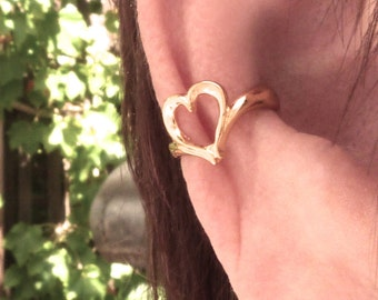 Heart cuff, heart earring, Vermeil unpierced earrings, non-pierced earrings, ear cuff, ear wrap, gold over silver ear cuff clip-on earring