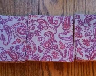 """60 Precut 4""""x4"""" Quilt Squares - Pink/Purple Paisley Print"""