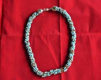 Copper, Blue, and Teal Beaded Necklace