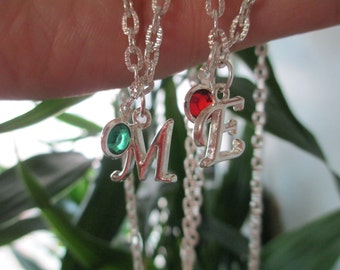 Initial Birthstone Necklace - Birthstone Necklace with Letter Charms