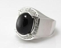 Fabulous Black Spinel with CZ Diamonds Men Fashion Silver Ring.