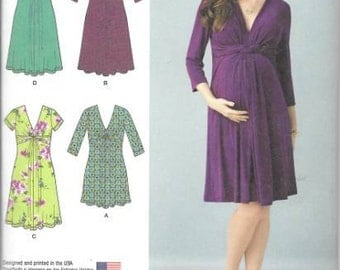 Maternity Knit Dress New Simplicity Sewing Pattern 1360 Size 16-24