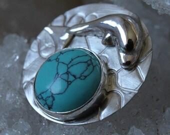 Silver Pendant howlite, handmade pendant with turquoise stone