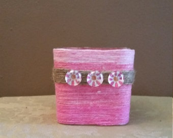 Yarn Wrapped Candle Holder, Pink and White Yarn Wrapped Candle Holder, Pink Wrapped Candle Holder, Wrapped Candle Holder