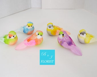 6 Pastel Artificial Medium Sized Birds - Feather - Glitter - Fake Mushroom Bird - Assorted Colors - Floral Decoration Craft Supplies
