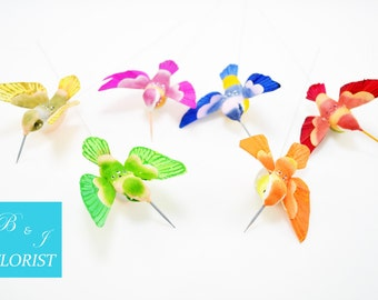 6 Humming Birds - Artificial - Assorted Colors - Yellow Green Purple Blue Orange Red