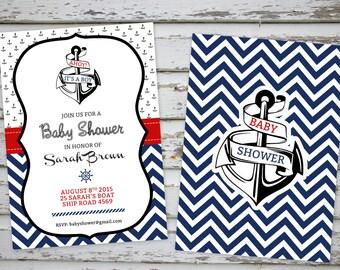 Nautical Marine Baby Shower Printable Invitation