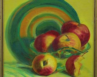 Apple original art , still life painting , kitchen decor , apple painting , still life art , original oil art , ready to hang art