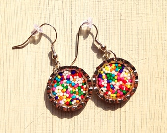 Sprinkle Bottle Cap Earrings