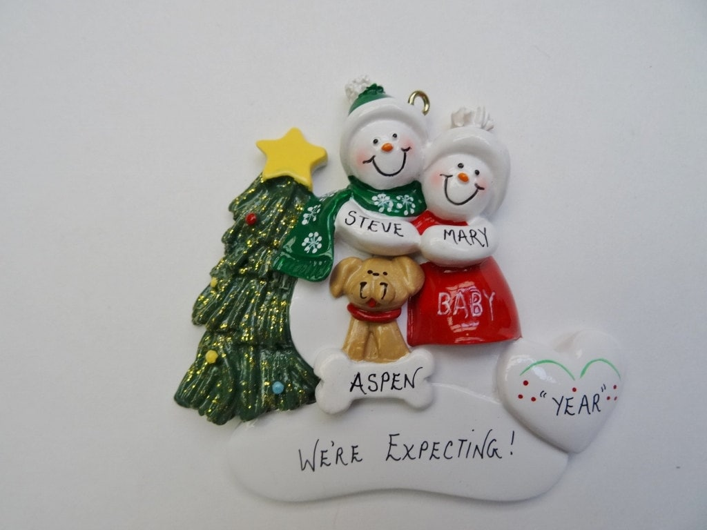 Personalized Christmas Ornament Expecting Couple Dog