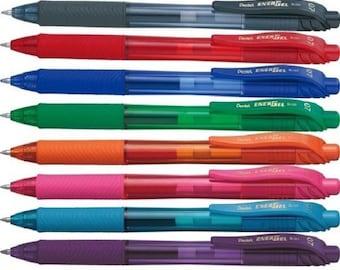 8 X Pentel EnerGel X Pen 0.7mm Black,Red,Blue,Purple,Green,sky blue,pink,orange