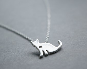Silver cat with cut-out heart necklace