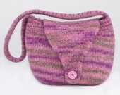 Felted bag - Very berry, stripey knit felted handbag