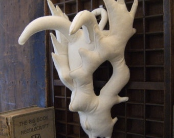 Sewn Bone – Horned Dragon Skull. Faux Taxidermy, Vegetarian Ornament, Quirky Gifts, Weird Stuff, Curiosities and Oddities