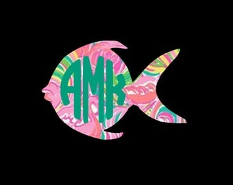 Cute goldfish monogram decal, in your favorite Preppy nspired prints!!