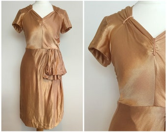 Vintage 1940s Beautiful Silky Evening Dress size XS