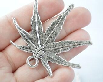 1 Pc Large Leaf Charm Leaf Pendant Antique Silver Tone 2 Sided 57x53mm - YD0197