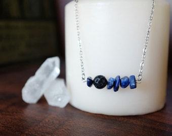 Lapis Lazuli and Lava Rock Essential Oil Diffuser Necklace or Bracelet