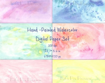 Hand - Painted Watercolor Digital Paper, Watercolor background, Scrapbooking, Crafts, Invitations, Digital Scrapbooking