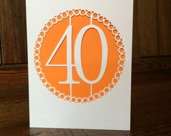 Handmade 40th papercut card
