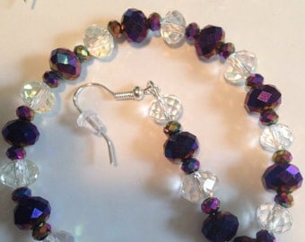 Purple and Silver Crystal Bracelet and Earring Set -L43