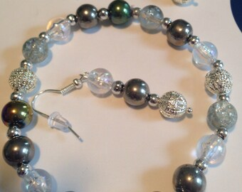 Iridescent Silver Bracelet and Earring Set -L47