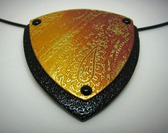 Biker bandana paisley pattern polymer clay pendant necklace in bronze, gold and black with rivets