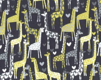 Giraffe Love Michael Miller Giraffe Love Gray Fabric - 100% Cotton