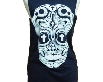 Sale Cross skull cut off shirt tank top graphic tee polka dot printing size XS S one size **sleeveless shirt **singlet **muscle shirt size