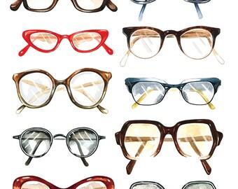 Vintage glasses Giclee print